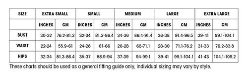 UK Size Charts-Capezio Womens Garments General