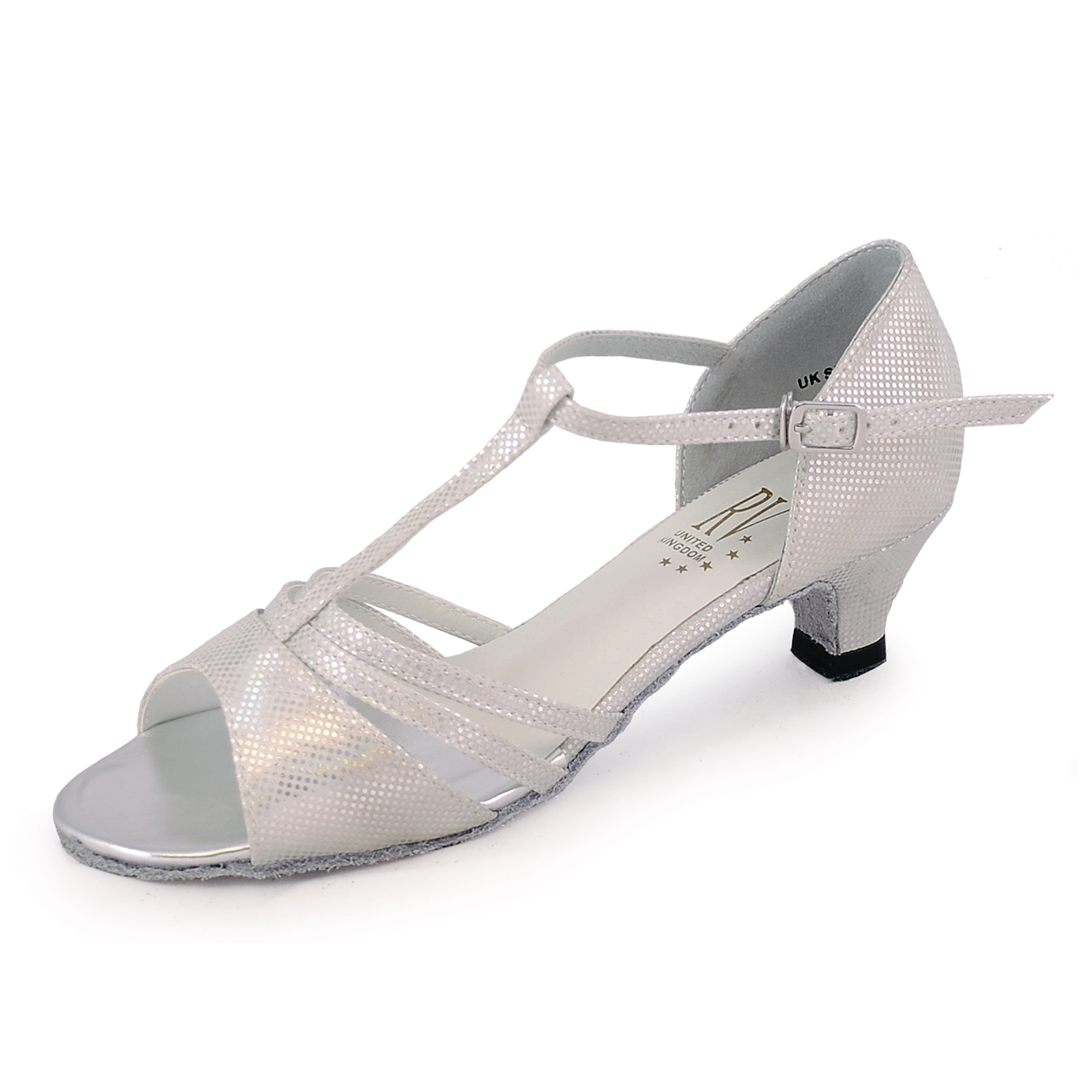 193c8e608 Roch Valley Evie Ladies Dance Shoes 1.2″ Heels White / Silver